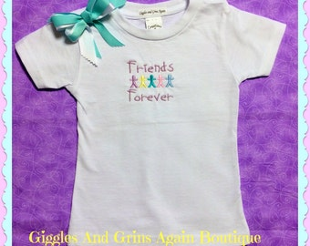 Friends Forever Embroidered Tee Shirt with Hair Bow -  2 - 6