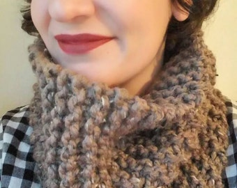 Chunky knit scarf in barley brown, chunky knit cowl, circle scarf, knit eternity scarf, winter accessories