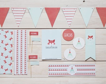 Printable party pack litlle fox