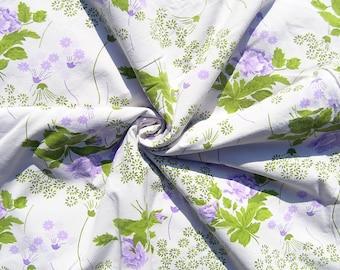 Vintage Single Duvet Cover, Mid Century Floral Cotton Duvet Cover, Purple Flowers with Green Twin Duvet Cover, 1970s Floral Bedding