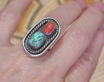 Navajo Pawn Turquoise & Coral Ring Sterling Silver Vintage Native American Jewelry