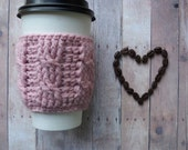 Cable Coffee Cup Sleeve - Dusty Rose - light pink - Coffee cup sweater - coffee cup cozy - gift idea - reusable - tea cozy