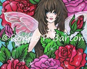 Rose Flower Fairies series big eyes fairy 8x10 ORIGINAL acrylic painting fantasy art