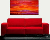 Oil Painting on Canvas sunset palette knife Contemporary colors Mixed.