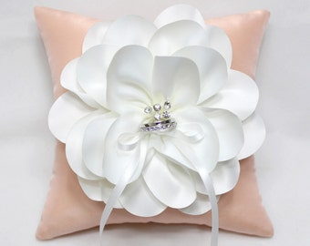 Wedding ring pillow, ring bearer pillow, salmon pink ring pillow, flower ring pillow, ring pillow, wedding ring cushion