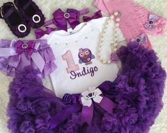 7-pc set Hootabelle inspired Birthday outfit- Include personalised top,super fluffy purple skirt,headband,legwarmers,shoes,necklace bracelet