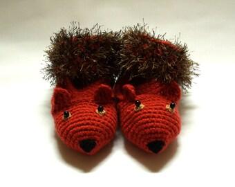 crochet squirrel slippers, squirrel slippers, woodland creatures, novelty slippers, crochet slippers, handmade slippers, UK seller