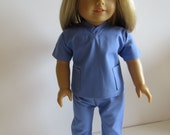 "Made To Fit Like American Girl Doll Clothes; 18"" Doll Scrubs; Ceil Blue Scrubs; Doll Ceil Blue 2 Pc Scrubs; Doll Ceil Blue Nurse Scrubs"