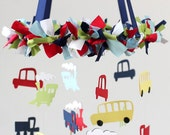 Cars Vehicles Trains Bus Transportation Nursery Mobile; Baby Mobile, Boy Baby Shower Gift