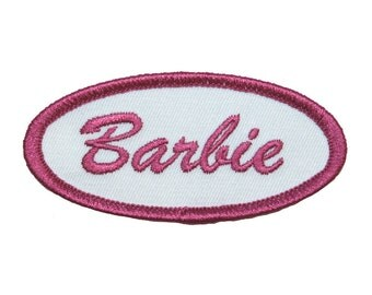 Barbie Name Tag Novelty Embroidered Iron On Uniform Applique Patch FD