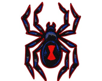 Red & Black Widow Spider Patch Poisonous Arachnid Insect Craft Iron-On Applique