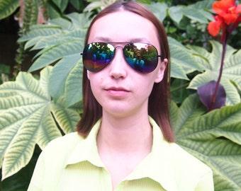 rainbow lens aviators sunglasses with black frame