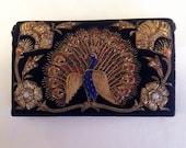 Peacock Embroidered Velvet Bag
