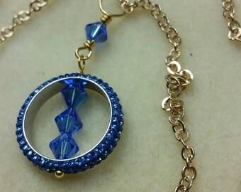 "Blue pavé crystal circle necklace 18-1/2"" long"
