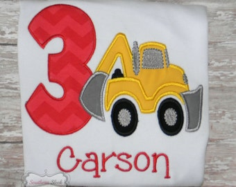 Construction Themed Birthday Shirt or Bodysuit in Red & Yellow