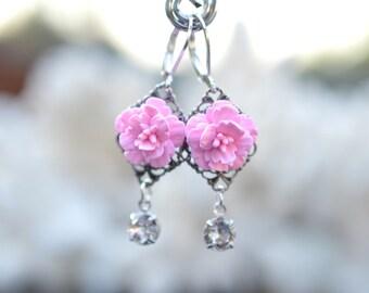 Pink Cherry Blossom and Swarovski Crystals Earrings. Sakura Blosssom Earrings. Pink Flower Earrings