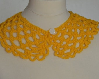 Peter Pan Collar,Crochet Collar,Yellow color, Detachable Collar Necklace, Yellow crochet Collar,gift for her.