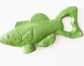 Green Fish Bottle Opener. Fathers Day Gift. Fishing Beer Opener. Nautical Kitchen. Lake House Decor. Cast Iron Beer Opener. Rustic Bar Tools