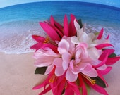 Tropical silk flower hawaiian hair clip (30)