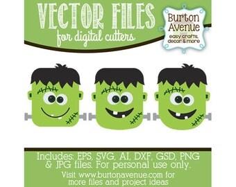 Frankenstein Head Vector Digital Cut File (eps,svg, gsd,dxf, ai, jpg, png)