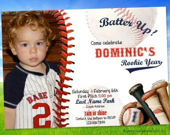 Baseball FIRST BIRTHDAY Invitations, ROOKIE Party Invitation, Boy Birthday, Sports Party, Personalized Name Age, Printable Two Sided Card