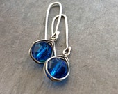 True blue crystal earrings artisan sterling silver jewelry sapphire crystals