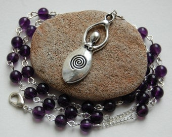 Great Goddess Amethyst Witch's/Witches' Ladder/Prayer Beads/Necklace. Goddess, Pagan, Wicca, Witch, Druid, Faerie, Magic.