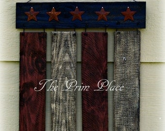 Primitive Wooden Flag Wall Hanging ~ Americana Decor ~ Porch Decor ~ 4th of July Decor ~ Patriotic Decor ~ Memorial Day Decor ~ Rustic Decor