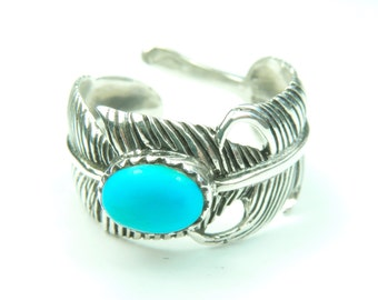Large Boho Style Feather Wrap Ring in Sterling Silver with a Turquoise Cab, Feather Ring, Feather Jewelry, Turquoise Ring, Turquoise,