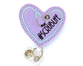 Scrublife Stethoscope - Nurse Badges - Nurse Gift - Cute Badge Reel - Unique ID Badge Clip - Felt Badge Reel - RN Badge Holder - BadgeBlooms