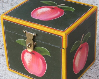 Vintage Black Painted Wood Box, Hinged Lid & Brass Latch - Apple Design With Striping - Folk Art Style - Recipe or Tea Box, Storage, Display
