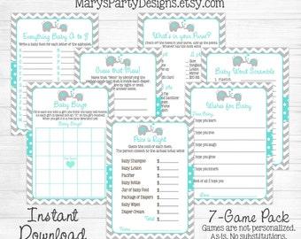 Elephant Baby Shower Game Package - Kit Pack - Aqua Gray Boy Girl Chevron Gray Printable