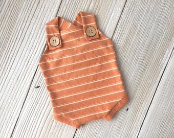 Orange and Ivory Striped Buttoned Newborn Romper Overalls for Baby Boy - Ready to Ship - Fall, Autumn, Harvest, Pumpkin
