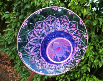 Glass Garden Flower hand painted Cobalt Blue & Butter Magenta Glass Art, Upcycled Recycled Repurposed  Garden Decor - Outdoor Decororations