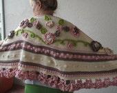 crochet bohemian shawl bohemian crochet shawl floral shawl gipsy crochet shawl