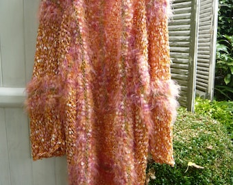 Handknitted coat jacket vest kimono luminous golden apricot peach orange color soft comfortable flexible OOAK