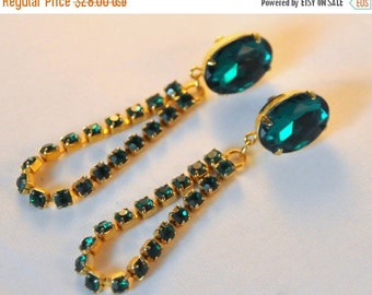 ON SALE Vintage Emerald Green Earrings BIG Sparkly Rhinestones - Amazing