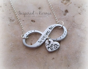 Silver Two Initial Necklace, Infinity Necklace, Personalized Couple Necklace, Valentine's Gift, Anniversary gift, Personalized Necklace