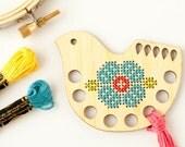 Bird Embroidery Floss Organizer Kit, Thread Keep for Cross Stitch, Thread Minder, Modern Cross Stitch, Embroidery Tool, DIY Cross Stitch Kit