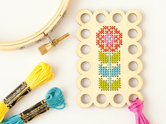 Flower embroidery floss organizer diy kit thread minder