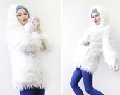 Vintage white fuzzy shaggy faux fur oversized hood short jacket coat XS-S