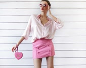 BENETTON Vintage candy pink textured cotton front button simple mini skirt XS S