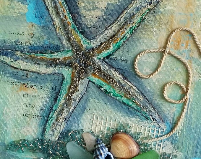 "Starfish Canvas Art | Seashell Painting | Ocean Art | Beach Decor | 6x6 | ""Beachcombed"" Series No.1 
