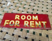 Vintage Antique Reflective Room For Rent White and Yellow on Red Metal Sign Plaque