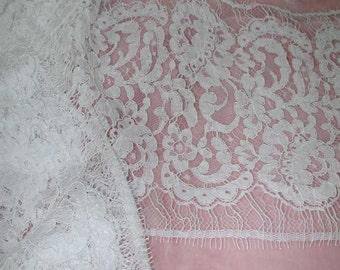 No. 300 White Cotton Solstiss Galloon Lace; 2 Pcs (Meas. Below)
