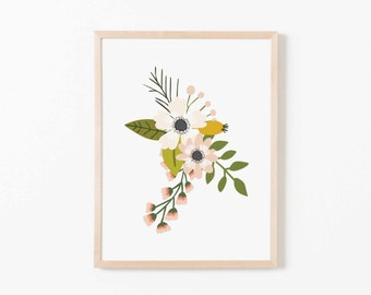 Blush Sprigs Single II Nursery Art. Nursery Wall Art. Nursery Prints. Nursery Decor. Girl Wall Art. Floral Wall Art. Instant Download.