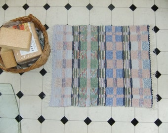 Vintage Swedish hand woven rag rug with stripes and squares