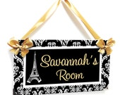 kids bedroom personalized plaque, Paris elegant black and gold accents girls french themed with eiffel tower door sign - P2406