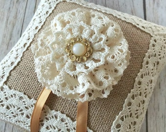 rustic burlap ring bearer pillow with cotton lace and flower.