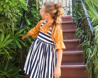 Kids High Waist Navy Stripe Skirt